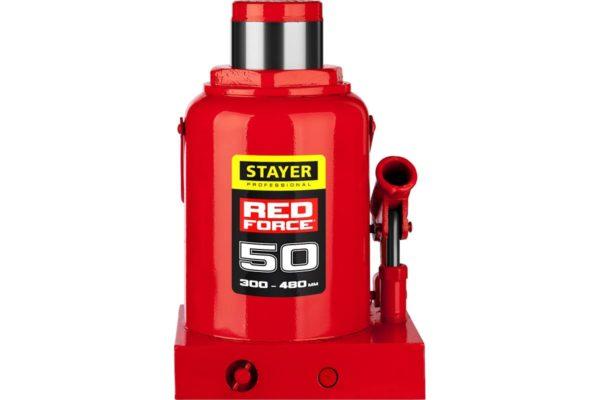 Гидравлический бутылочный домкрат STAYER Red Force, 50т